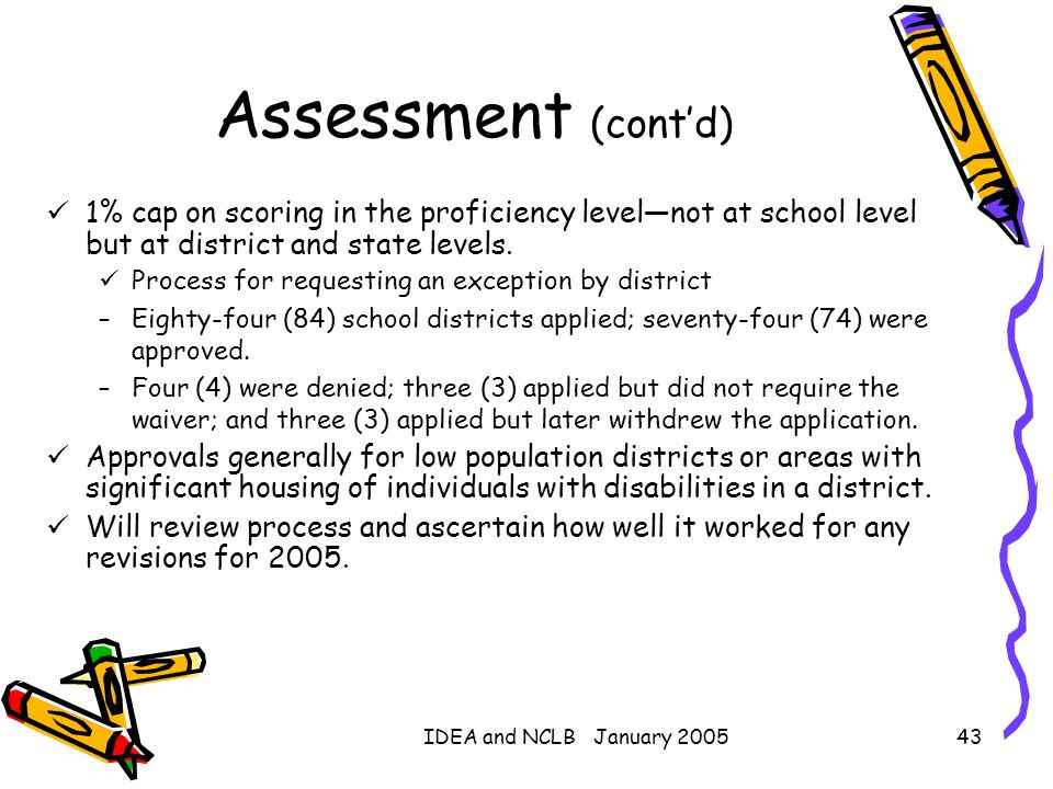 Assessment (cont'd)1% cap on scoring in the proficiency level—not at school level but at district and state levels.