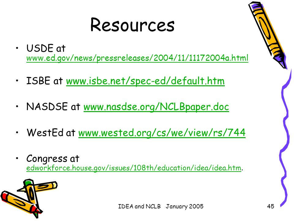 Resources USDE at www.ed.gov/news/pressreleases/2004/11/11172004a.html