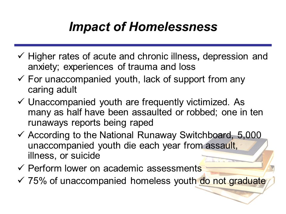 effects of homelessness on school childrens The impact of poverty on young children's experience of school goretti horgan this report explores how disadvantage affects children's experience of.