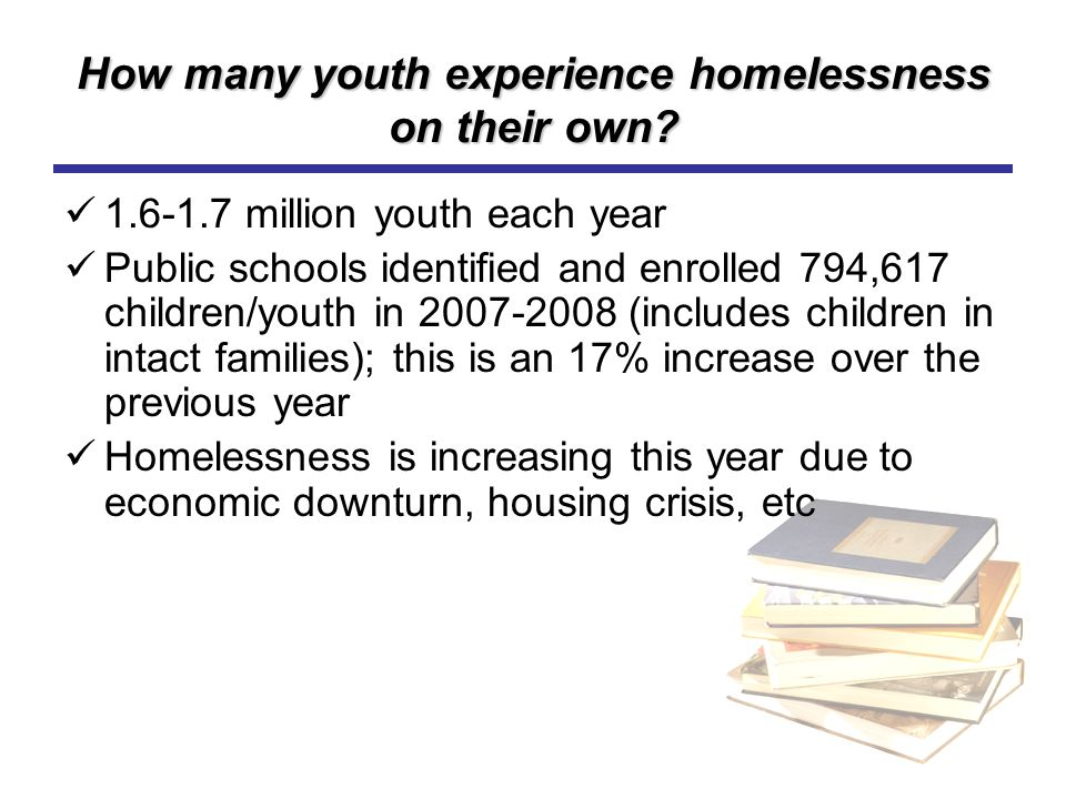 How many youth experience homelessness on their own