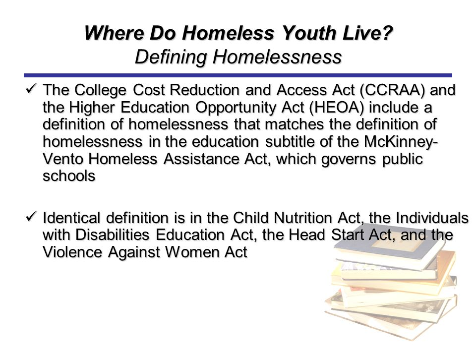 Where Do Homeless Youth Live Defining Homelessness