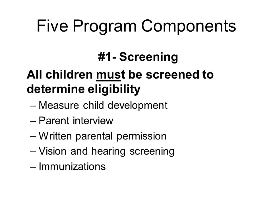Five Program Components