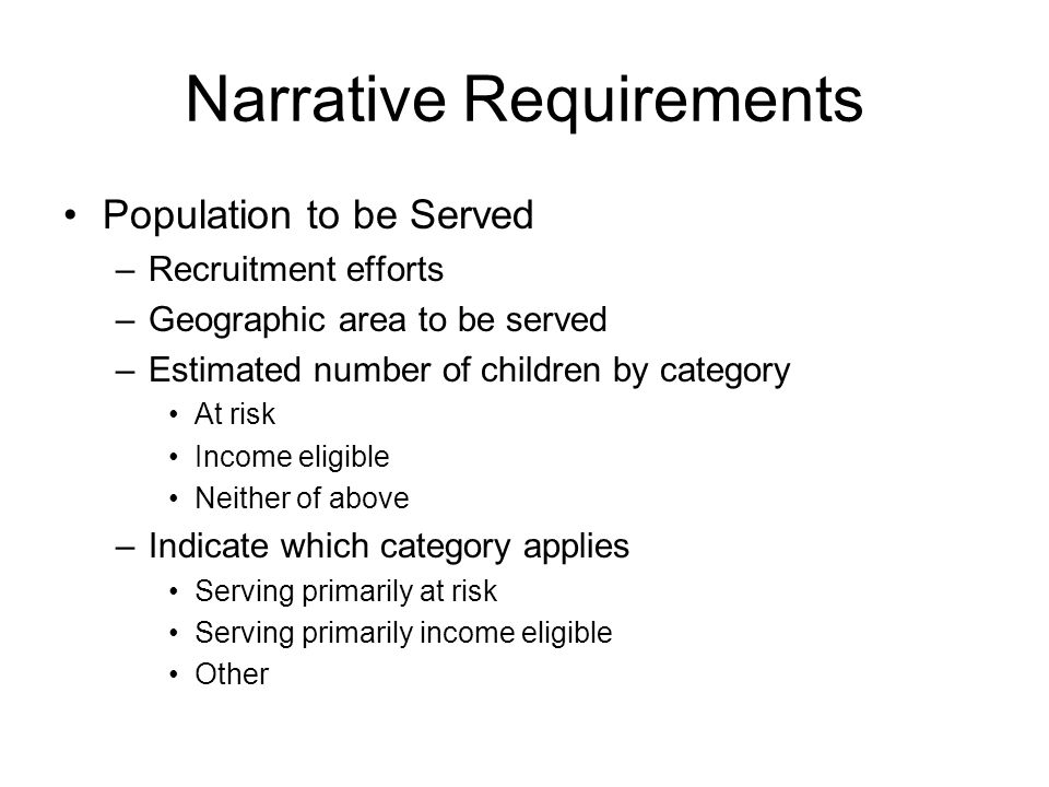 Narrative Requirements