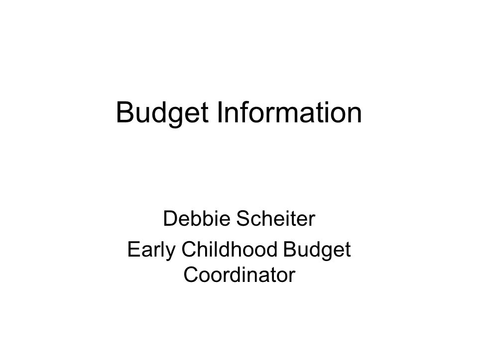 Debbie Scheiter Early Childhood Budget Coordinator