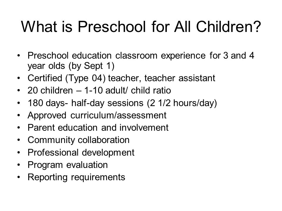 What is Preschool for All Children