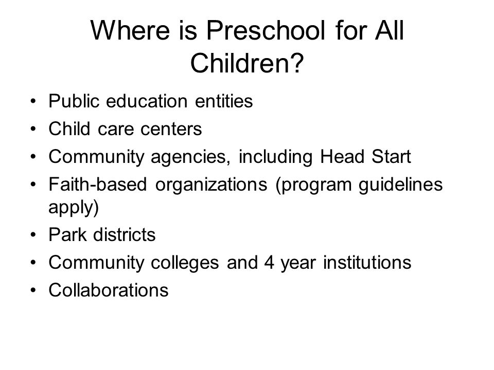 Where is Preschool for All Children