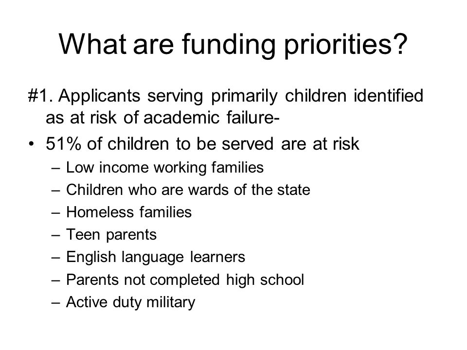 What are funding priorities