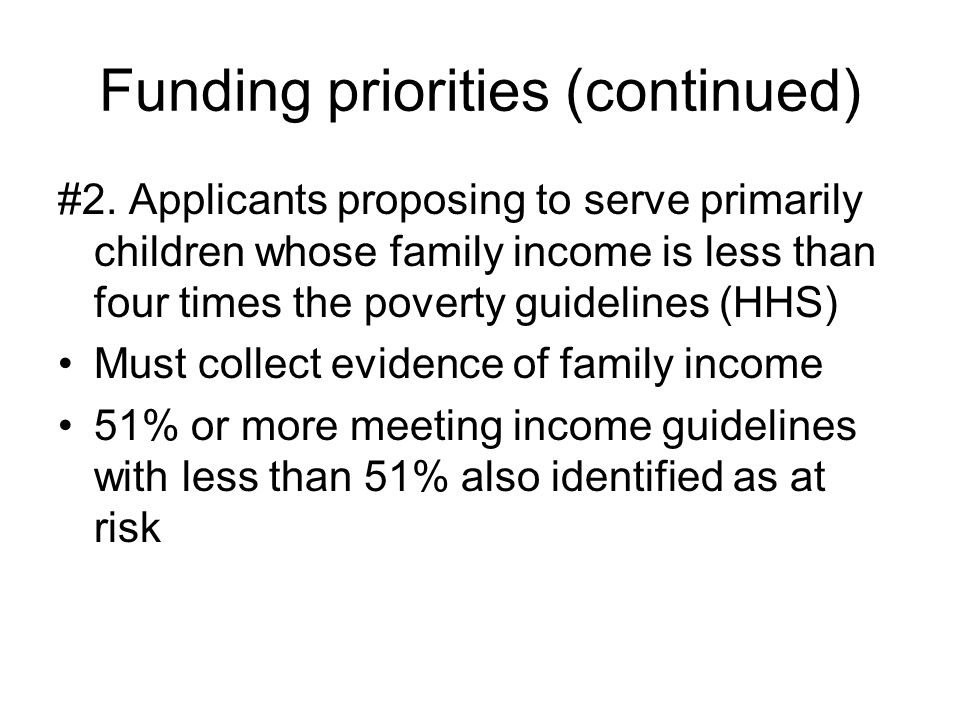 Funding priorities (continued)