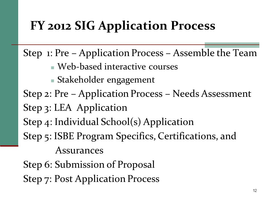 FY 2012 SIG Application Process