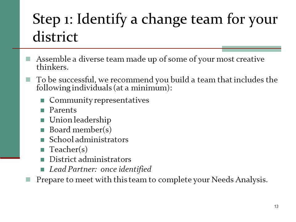 Step 1: Identify a change team for your district