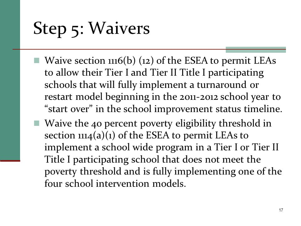 Step 5: Waivers