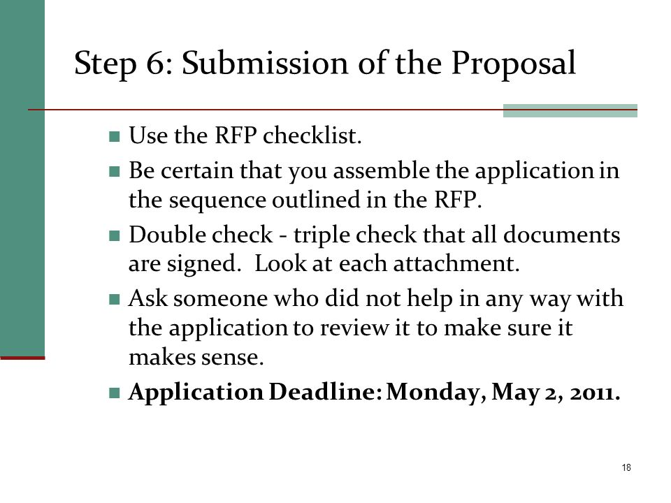Step 6: Submission of the Proposal