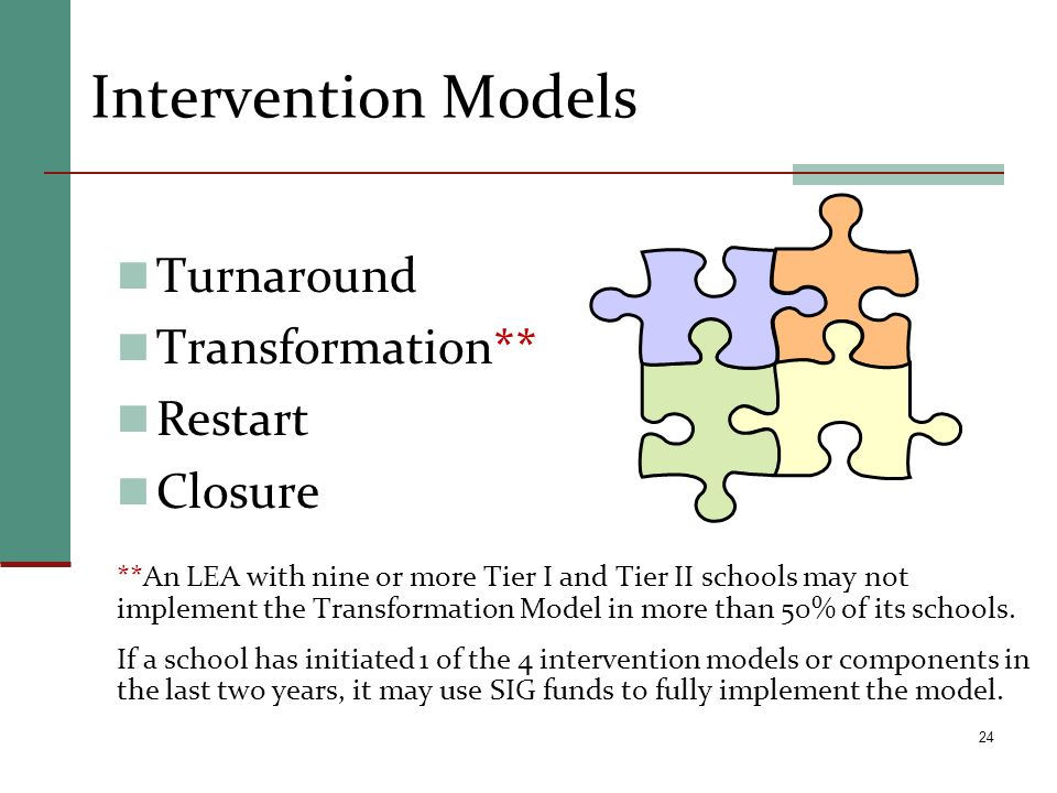 Intervention Models Turnaround Transformation** Restart Closure