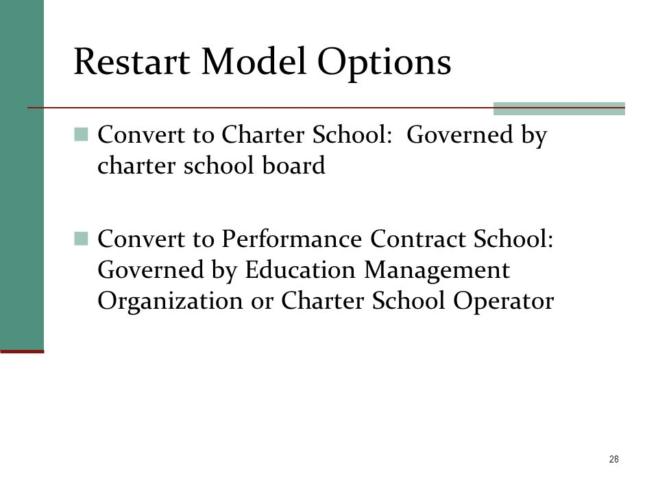 Restart Model Options Convert to Charter School: Governed by charter school board.