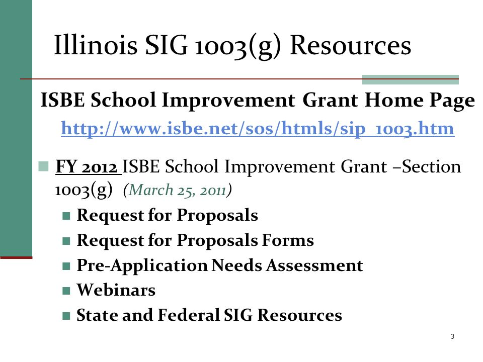 Illinois SIG 1003(g) Resources