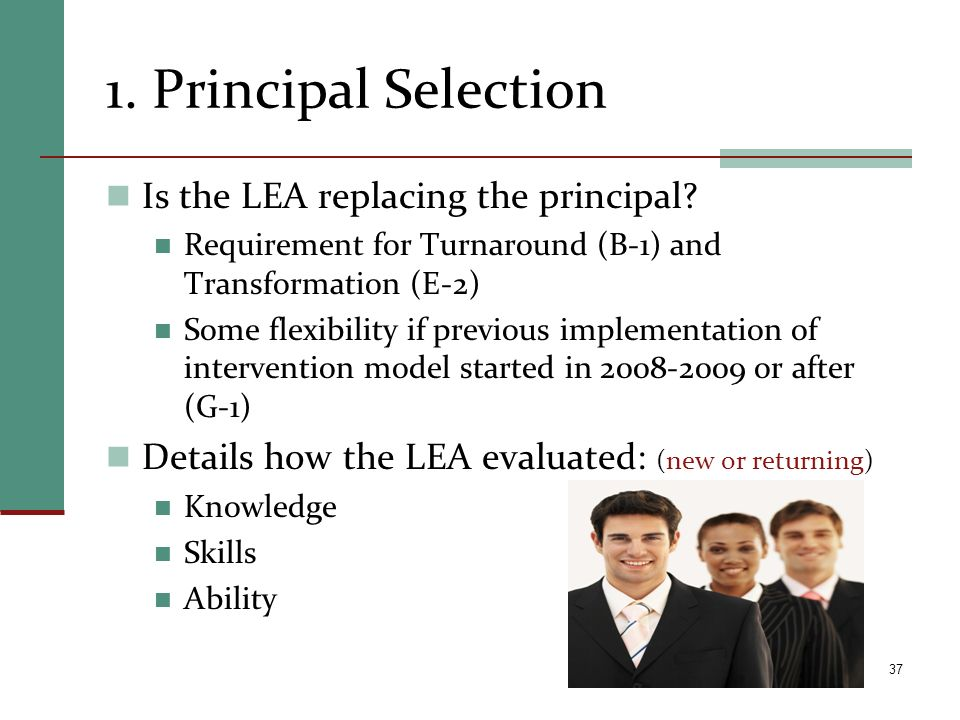 1. Principal Selection Is the LEA replacing the principal