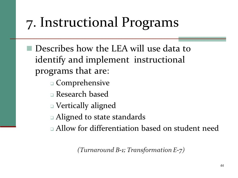 7. Instructional Programs
