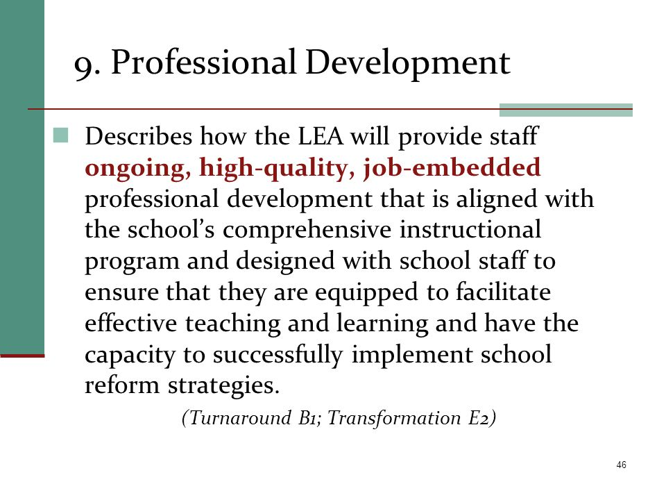 9. Professional Development