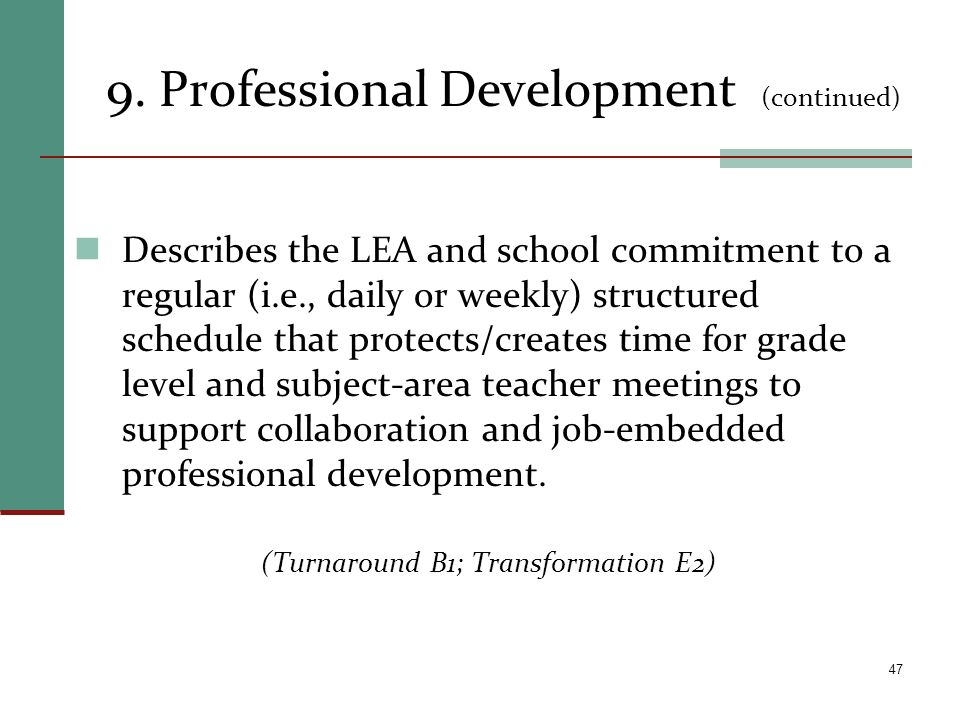 9. Professional Development (continued)