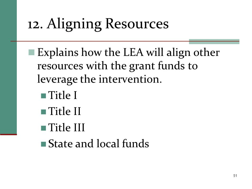 12. Aligning Resources Explains how the LEA will align other resources with the grant funds to leverage the intervention.