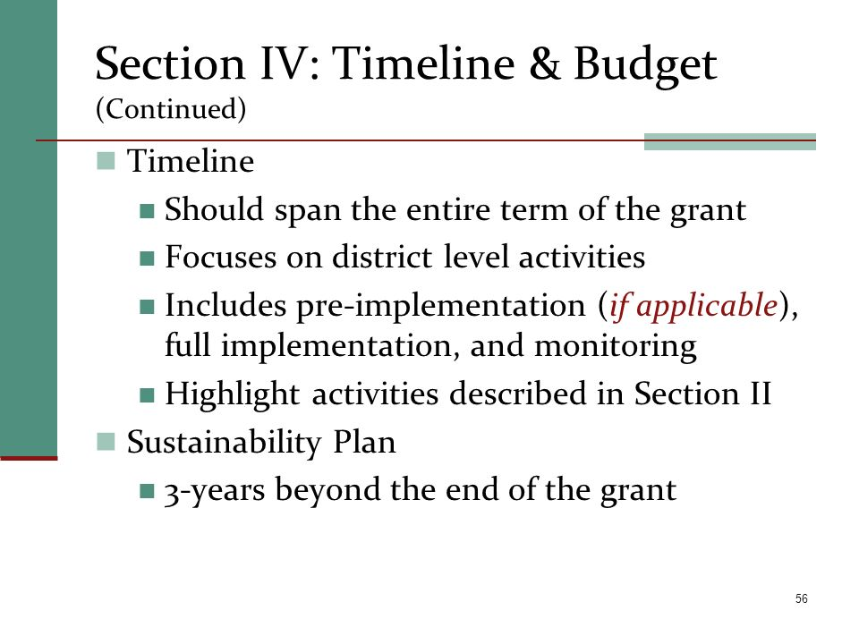 Section IV: Timeline & Budget (Continued)