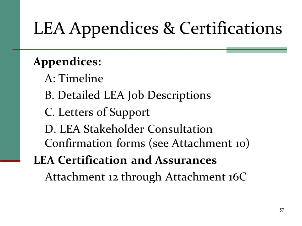 LEA Appendices & Certifications