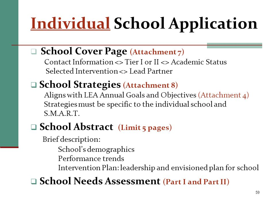 Individual School Application