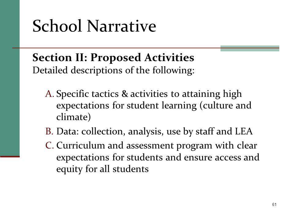 School Narrative Section II: Proposed Activities