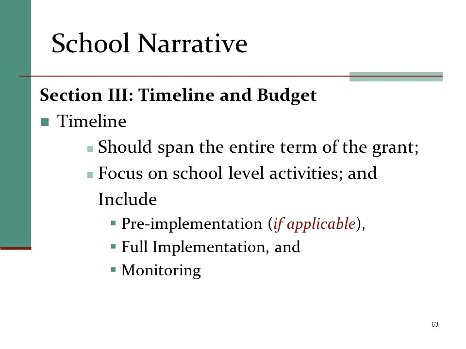 School Narrative Section III: Timeline and Budget Timeline