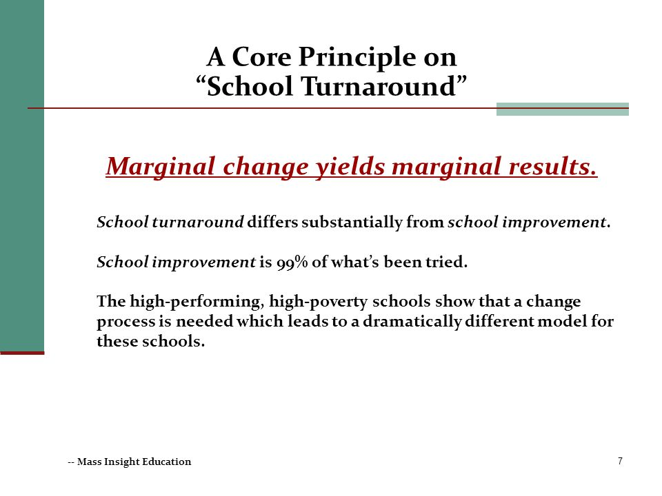 Marginal change yields marginal results.