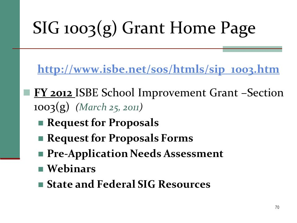 SIG 1003(g) Grant Home Page http://www.isbe.net/sos/htmls/sip_1003.htm