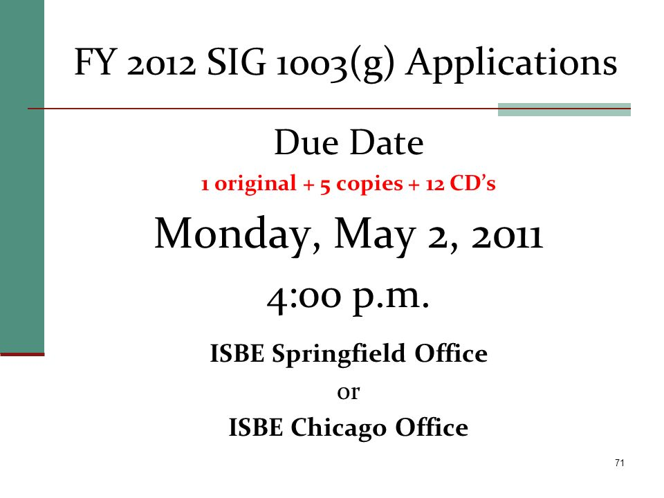 FY 2012 SIG 1003(g) Applications