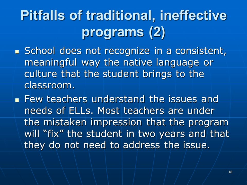Pitfalls of traditional, ineffective programs (2)