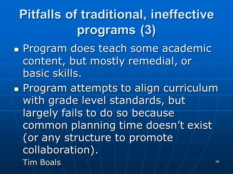 Pitfalls of traditional, ineffective programs (3)