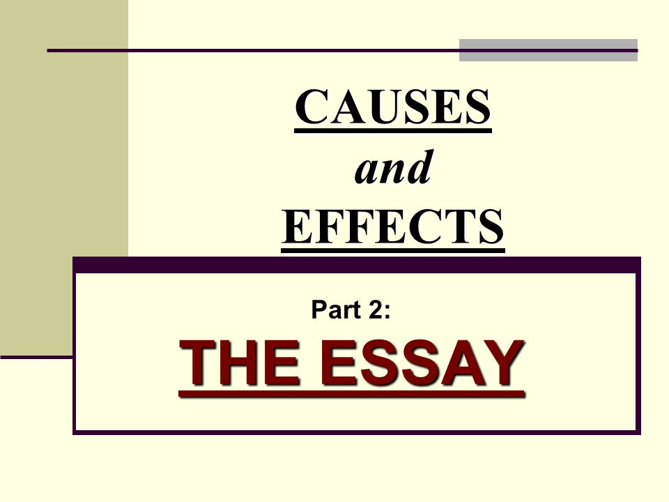 Causes And Effects Part  The Essay  Ppt Video Online Download  Causes And Effects Part  The Essay