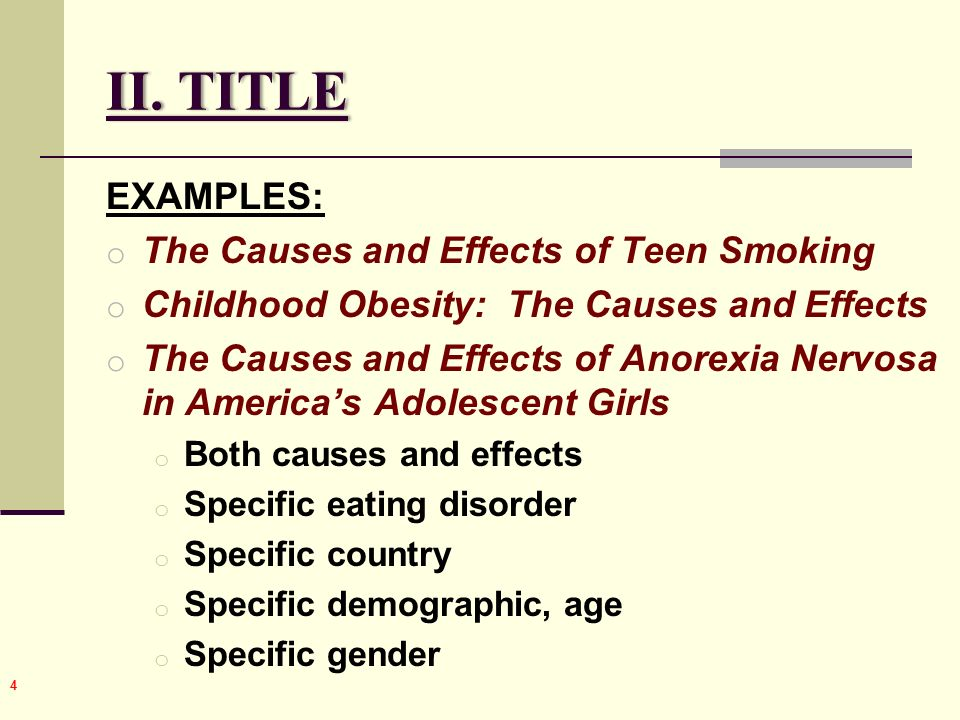 causes and effects part the essay ppt video online  title examples the causes and effects of teen smoking