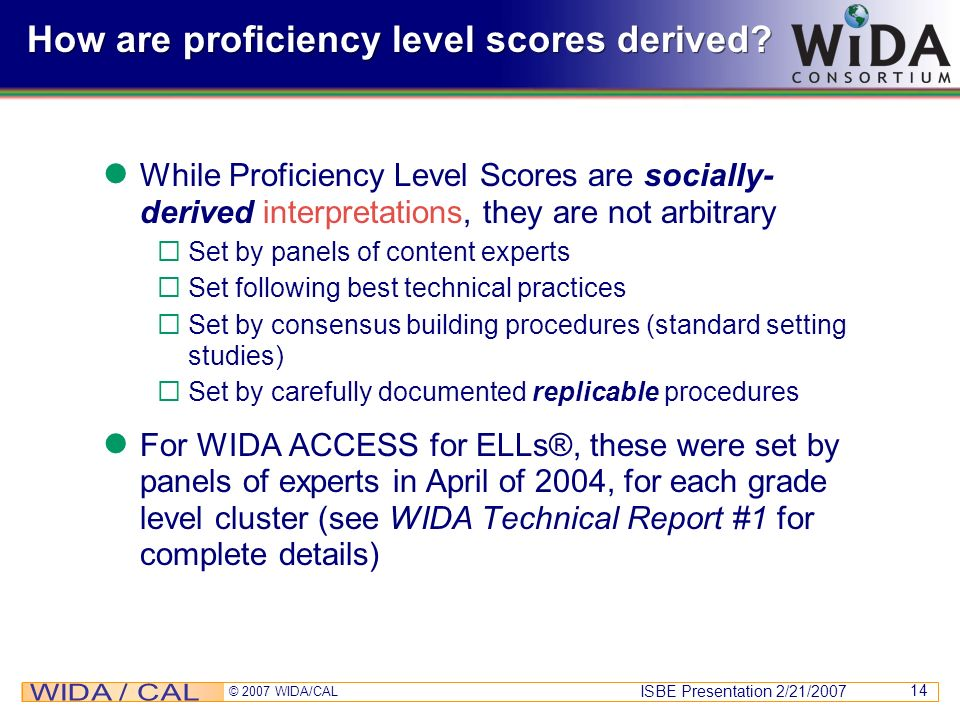 How are proficiency level scores derived