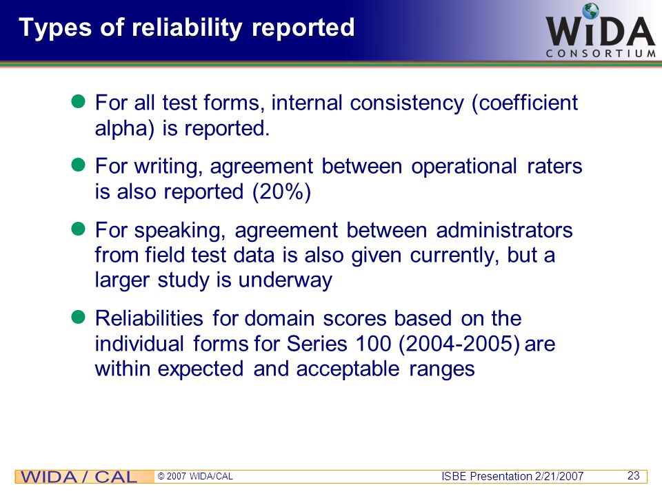 Types of reliability reported
