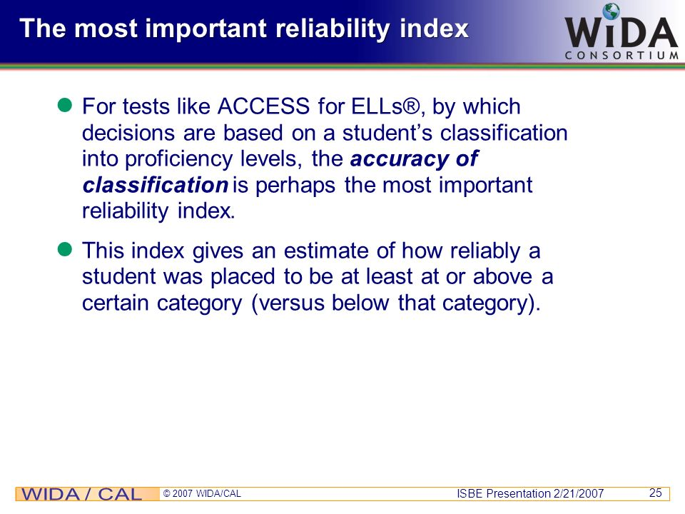 The most important reliability index