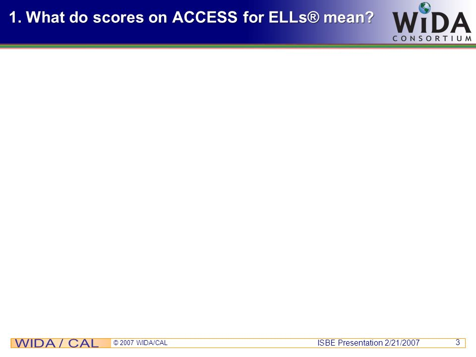 1. What do scores on ACCESS for ELLs® mean