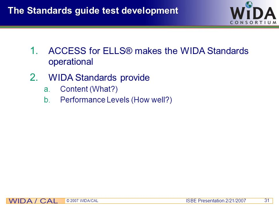 The Standards guide test development