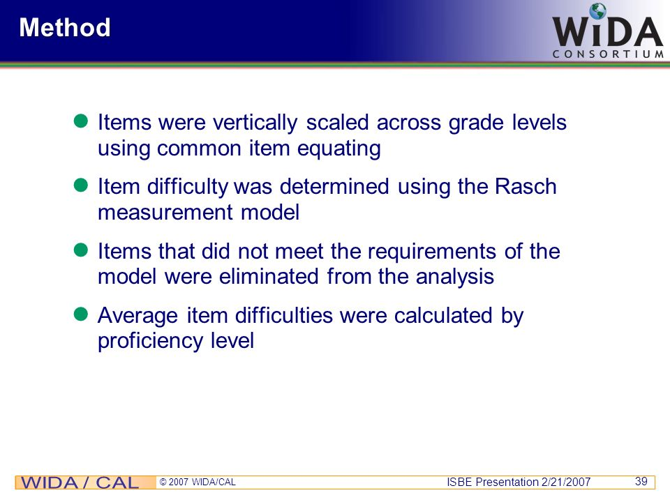 Method Items were vertically scaled across grade levels using common item equating. Item difficulty was determined using the Rasch measurement model.