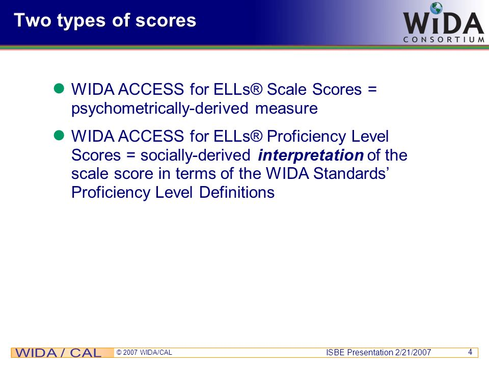 Two types of scores WIDA ACCESS for ELLs® Scale Scores = psychometrically-derived measure.