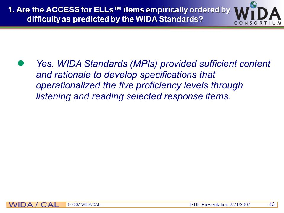 1. Are the ACCESS for ELLs™ items empirically ordered by difficulty as predicted by the WIDA Standards