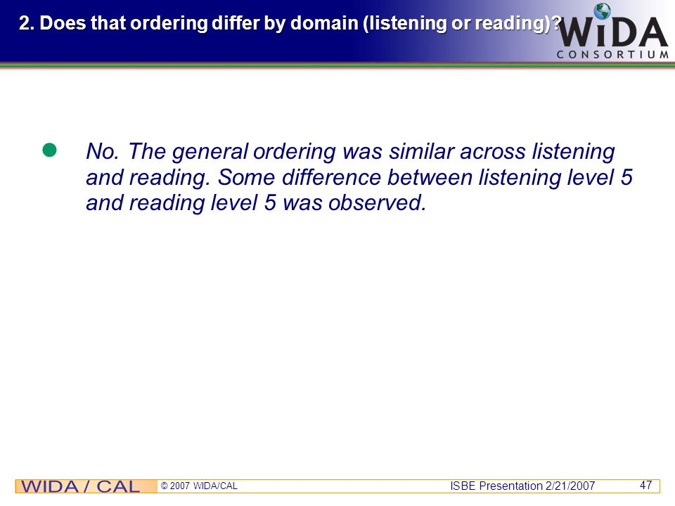 2. Does that ordering differ by domain (listening or reading)