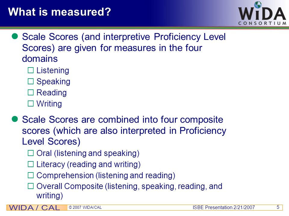 What is measured Scale Scores (and interpretive Proficiency Level Scores) are given for measures in the four domains.