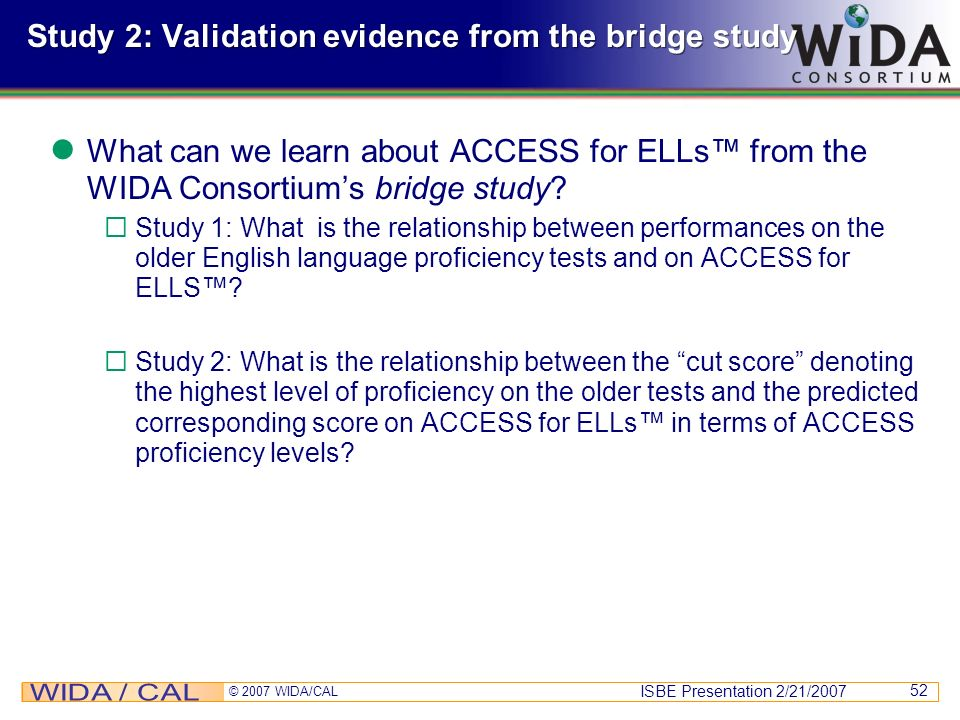 Study 2: Validation evidence from the bridge study