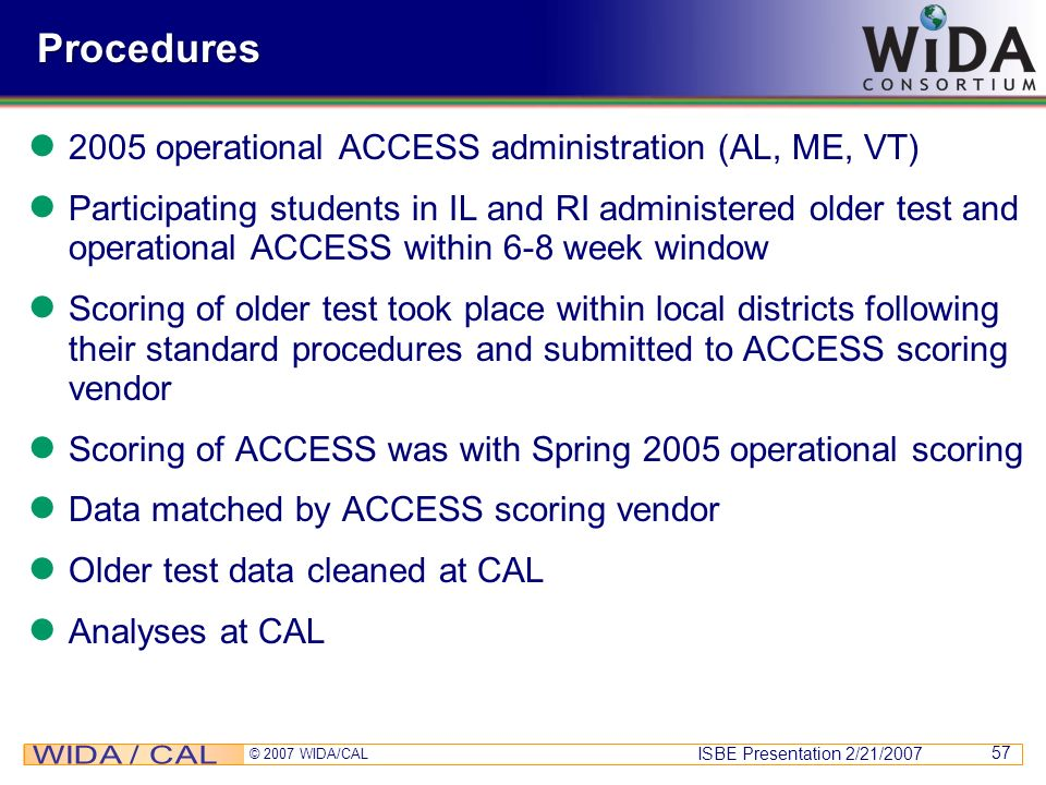 Procedures 2005 operational ACCESS administration (AL, ME, VT)