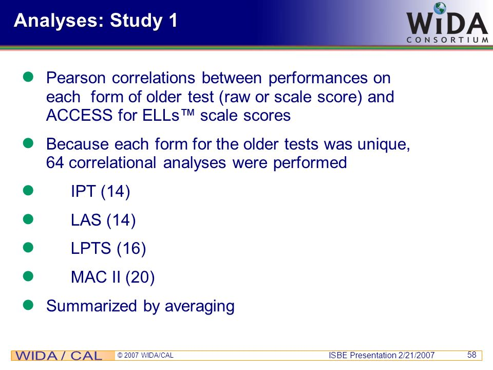 Analyses: Study 1Pearson correlations between performances on each form of older test (raw or scale score) and ACCESS for ELLs™ scale scores.