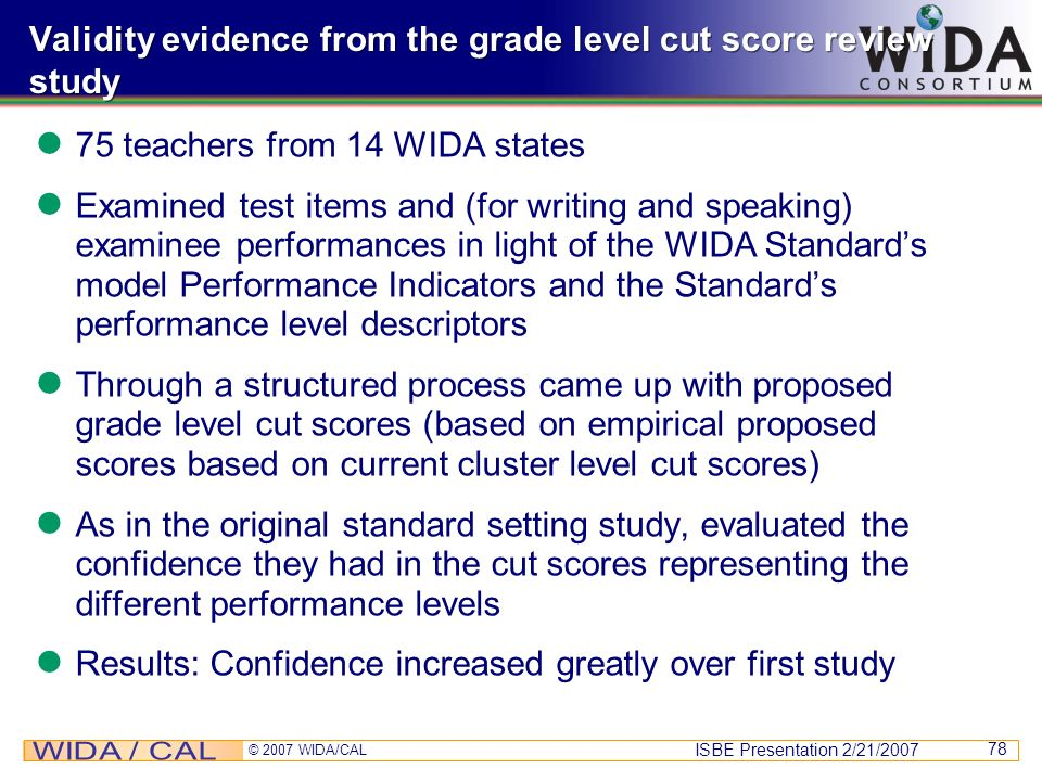 Validity evidence from the grade level cut score review study